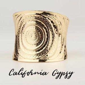 Gypsy boho gold cuff bracelet